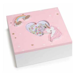 Caseta bijuterii cu rama foto din lemn roz alb Unicorn 15 cm x 15 cm x 5,5 h