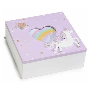 Caseta bijuterii cu rama foto din lemn mov alb Unicorn 15 cm x 15 cm x 5,5 h
