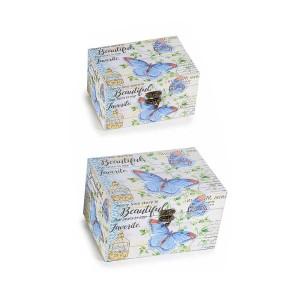 Set 2 casete bijuterii din lemn alb albastru Beautiful 30 cm x 14.5 x 12 h