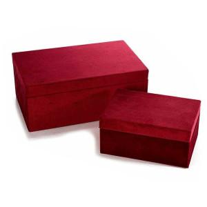 Set 2 casete bijuterii din catifea visinie 24 cm x 15 cm x 10 h
