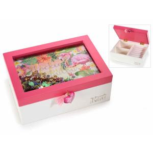 Caseta bijuterii cu organizator de inele din lemn 18 cm x 13,5 cm x 7 h