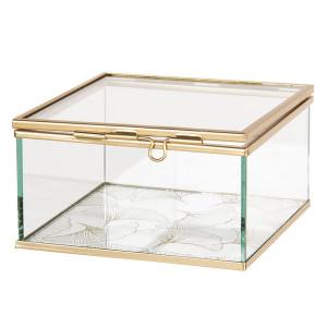 Caseta bijuterii din sticla transparenta si metal auriu 12 cm x 12 cm x 6 h