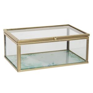 Caseta bijuterii din sticla transparenta si metal auriu 17 cm x 10 cm x 7 h