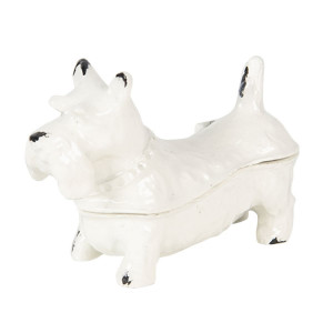 Caseta bijuterii din metal alb Dog 7 cm x 3 cm x 5 h