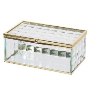 Caseta bijuterii din sticla transparenta si metal auriu 14 cm x 8 cm x 6 h
