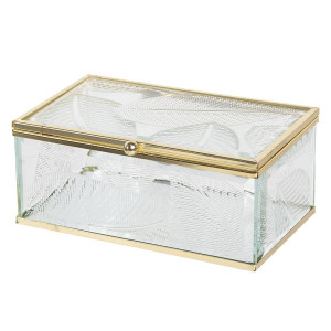Caseta bijuterii din sticla transparenta si metal auriu Leaf 17 cm x 10 cm x 7 h