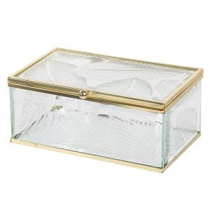 Caseta bijuterii din sticla transparenta si metal auriu Leaf 20 cm x 16 cm x 6 h