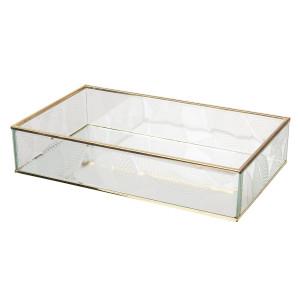 Caseta bijuterii din sticla transparenta si metal auriu Leaf 29 cm x 17 cm x 6 h