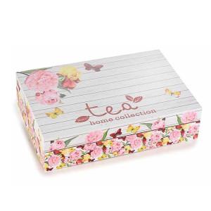 Cutie pentru ceai 6 compartimente din lemn decor Floral 24 cm x 16.5  cm x 6 h
