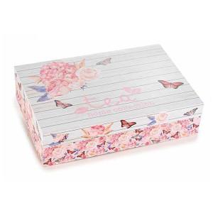 Cutie pentru ceai 6 compartimente din lemn decor Roses 24 cm x 16.5  cm x 6 h