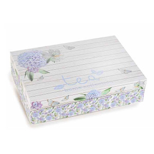 Cutie pentru ceai 6 compartimente din lemn Hortensie albastra 24 cm x 16.5  cm x 6 h