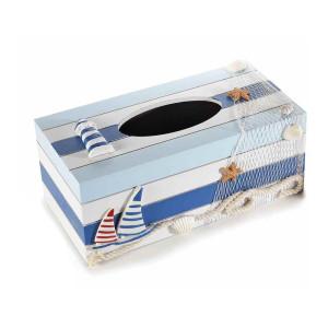 Cutie pentru servetele din lemn alb albastru 24 cm x 13.5 cm x 10 h