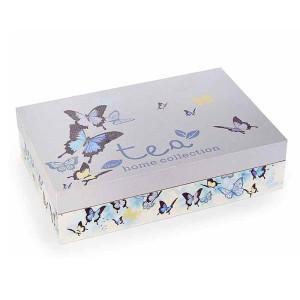 Cutie pentru ceai 6 compartimente din lemn decor Fluturi 24 cm x 16 cm x 6 h