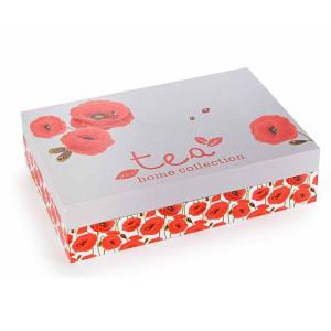 Cutie pentru ceai 6 compartimente din lemn decor Maci 24 cm x 16 cm x 6 h