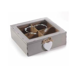 Cutie ceai lemn gri vintage 4 compartimente 19 cm x 18 cm x 6 h