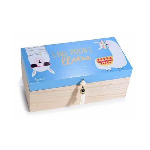 Set 2 casete bijuterii din lemn natur albastru Lama 20 cm x 11 cm x 8 h