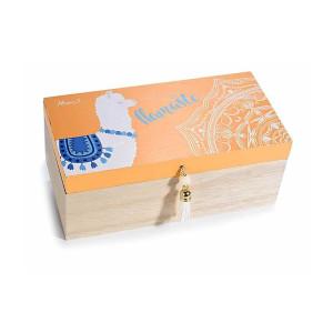 Set 2 casete bijuterii din lemn natur portocaliu Lama 20 cm x 11 cm x 8 h