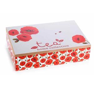 Cutie ceai lemn 6 compartimente Maci rosii cm 24 x 17 cm x 6 h