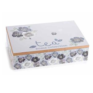 Cutie ceai lemn gri alb 6 compartimente Tea cm 24 x 17 cm x 6 h