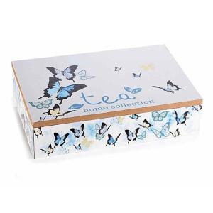 Cutie ceai lemn 6 compartimente Fluturi cm 24 x 17 cm x 6 h