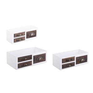 Set 3 cutii depozitare tip sertar din lemn alb maro Jacob 40 cm x 23 cm x 14 h