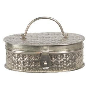 Caseta pentru bijuterii din metal argintiu 23 cm x 15 cm x 8 h