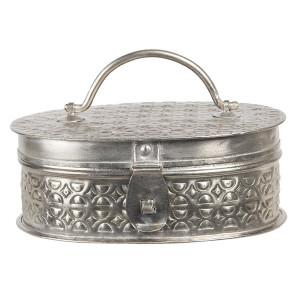 Caseta pentru bijuterii din metal argintiu 19 cm x 13 cm x 7 h