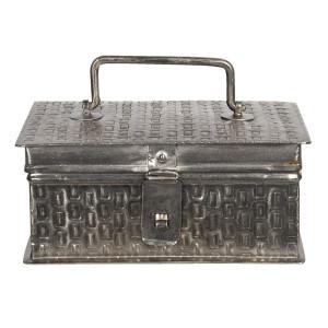 Caseta pentru bijuterii din metal argintiu 18 cm x 11 cm x 8 h