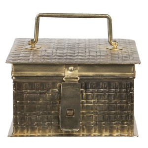 Caseta pentru bijuterii din metal auriu antic 17 cm x 17 cm x 10 h