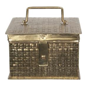 Caseta pentru bijuterii din metal auriu antic 19 cm x 19 cm x 13 h