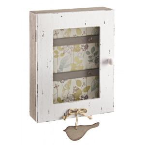 Cutie suspendabila pentru chei bej alb vintage 18 cm x 6 cm x 28h