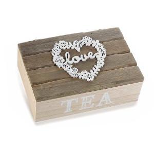 Cutie ceai lemn bej natur 6 compartimente model Love 21 cm x 14 cm x 8 h