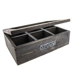 Cutie ceai lemn gri antichizat 6 compartimente model 25 cm x 17 cm x 8 cm