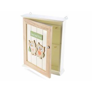 Cutie suspendabila pentru chei bej alb model Bufnita 6 agatatori cm 21 x 6 cm x 25 H