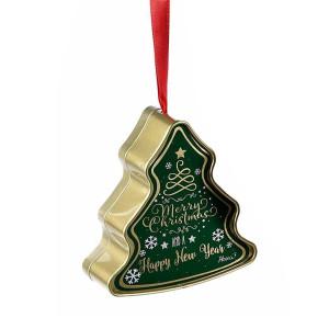 Cutie suspendabila din metal verde auriu model Brad 10x4x11 cm