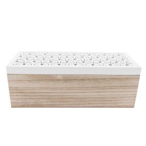Cutie ceai lemn natur alb 3 compartimente cm 23 x 9 cm x 8 H
