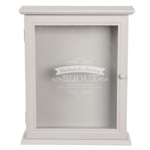 Cutie suspendabila pentru chei lemn alb sticla Bijoux 22 cm x 7 cm x 27 cm