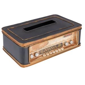 Cutie servetele metal maro model Radio Retro cm 25 x 15 cm x 9 H