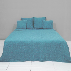 Cuvertura de pat din bumbac matlasat verde 150 cm x 150 cm