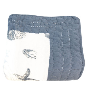 Cuvertura de pat din bumbac matlasat albastru alb decor Marin 180 cm x 260 h