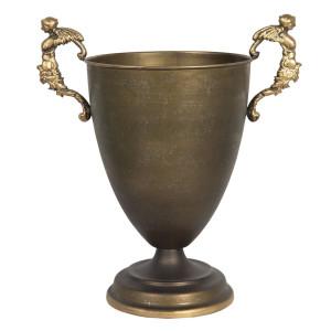 Bol decorativ din metal auriu antic 35 cm x 22 cm x 38 h