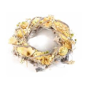 Coronita Paste din lemn decorata cu oua si flori galbene  Ø 30 cm