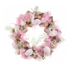 Coronita Paste din lemn decorata cu pene naturale si oua roz Ø 30 cm