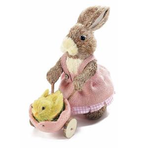 Figurina Iepuras Paste Girl cu carucior textil fibre naturale cm 25 x 11 cm x 22 h