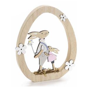 Decoratiune Iepurasi Paste Boy din lemn  17 cm x 2 cm x 20 h
