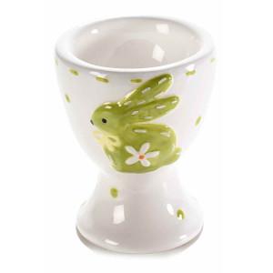 Suport ou din ceramica alb verde Ø 5,5 cm x 7,5 h