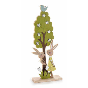 Decoratiune Iepurasi Paste din lemn cm 18 cm x 8 cm x 45 h