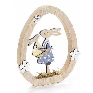 Decoratiune Iepurasi Paste Girl din lemn 17 cm x 2 cm x 20 h