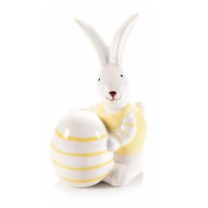Figurina Iepuras Paste din ceramica galben alb 8 cm x 7 cm x 12 h