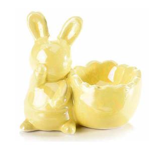Suport ou ceramica galben sidef 8,5 cm x 5 cm x 8 h